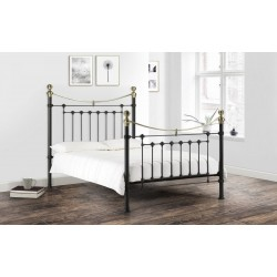 Victoria (4ft 6inch-135cm) Double Bed Frame Satin Black & Brass