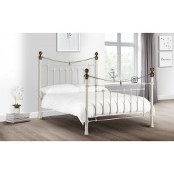 Victoria (4ft 6inch-135cm) Double Bed Frame Stone White & Brass
