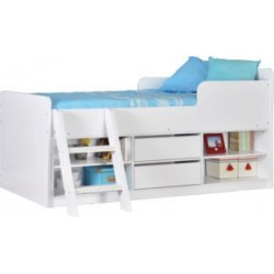 Felix Low Sleeper Metal Bed Frame White With Wooden Slats