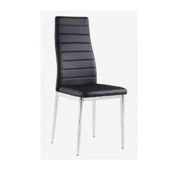 Pearl PU Dining Black Chairs With Chrome Legs (Pack of 6)