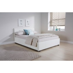 Side Lift Ottoman Gas Lift Storage (5ft-150cm) King Bed Frame In White