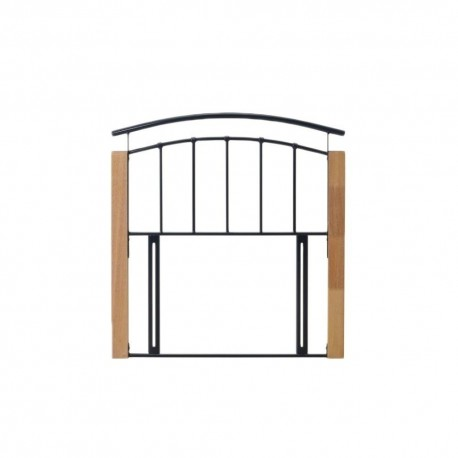 Tetras (4ft 6inch-135cm) Modern Black & Beech Wood Metal Double Headboard