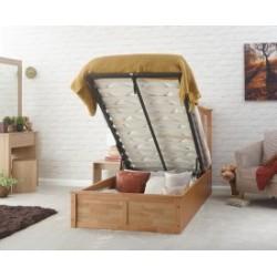MADRID Solid Wood Storage (3ft-90cm) Single Bed Frame In Natural Oak