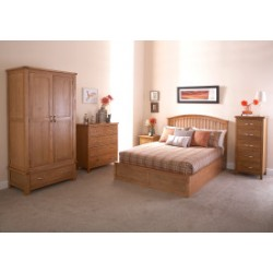 MADRID Solid Wood Storage (4ft 6inch-135cm) Double Bed Frame In Natural Oak