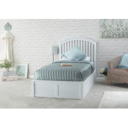 MADRID Solid Wood Storage (3ft-90cm) Single Bed Frame In White