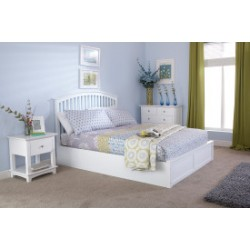 MADRID Solid Wood Storage (4ft 6inch-135cm) Double Bed Frame In White