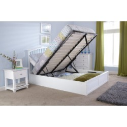 MADRID Solid Wood Storage (5ft-150cm) King Bed Frame In White