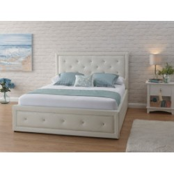 HOLLYWOOD Gas Lift Storage (4ft 6inch-135cm) Double Bed Frame In White