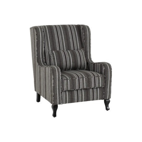 Sherborne Footstool Grey Stripe Fabric With Wooden Feet