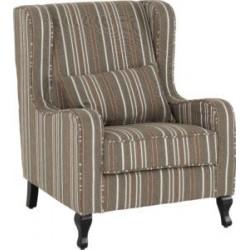 Sherborne Fireside Chair Beige Stripe Fabric With Wooden Feet