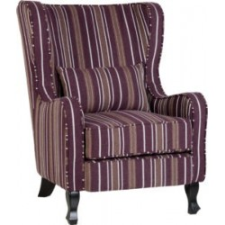 Sherborne Fireside Chair Burgundy Stripe Fabric With Wooden Feet