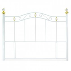 Warwick 4FT Small Double White Metal Headbord with Gold Detailing