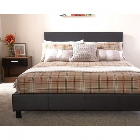 BED IN A BOX 4Ft Small Double Faux Leather Bedstead In Black