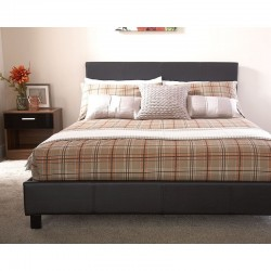 """BED IN A BOX 4Ft 6"""" Double Faux Leather Bedstead In Black"""