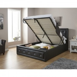 HOLLYWOOD Gas Lift Storage Bedstead In Black 5Ft King Size