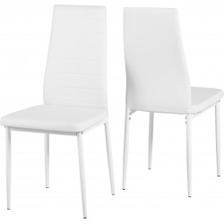Abbey Faux Leather White Dining Chair (Sold in Pairs)