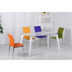 Carina Glass Dining Set High Gloss White