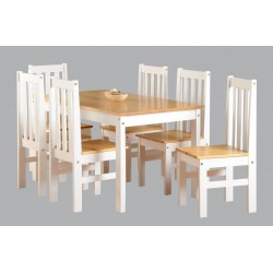 Ludlow Large Dining Set 6 Chairs in Oak & White