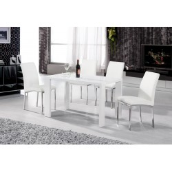 Peru Dining Table White High Gloss 4 Chairs