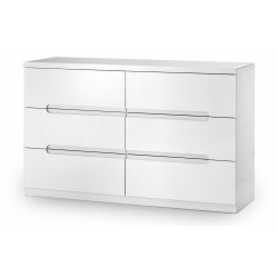 Manhattan 6 Drawer Wide Chest White High Gloss