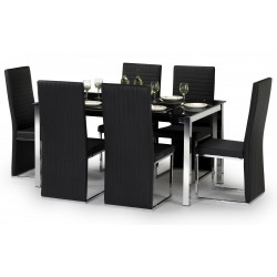 Tempo Chrome & Black Glass Dining Table Set
