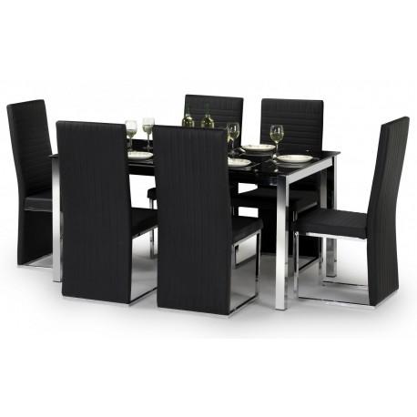 Tempo Chrome & Black Glass Dining Table Set